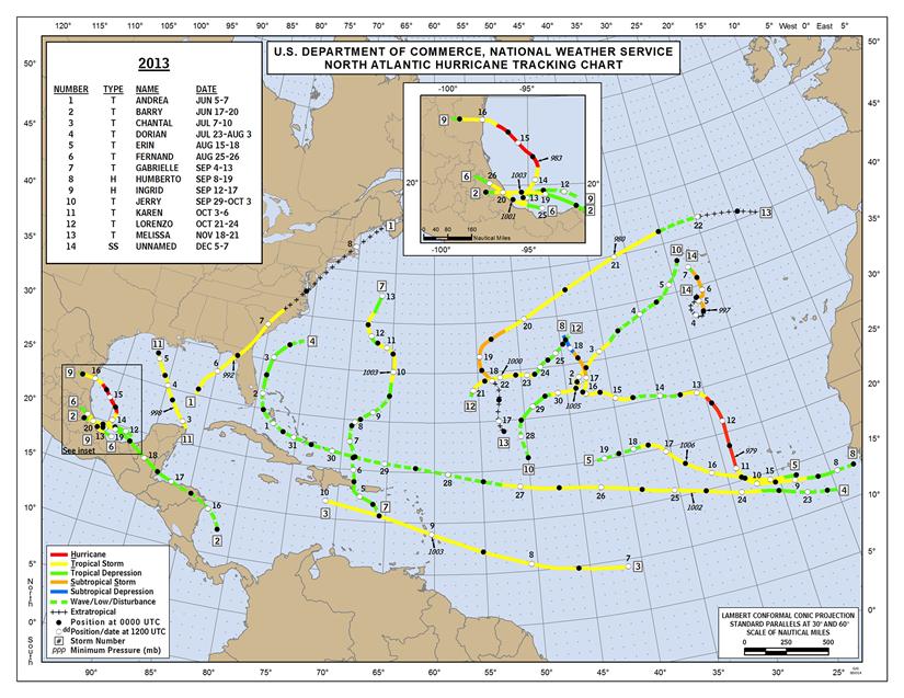 2013 Atlantic Hurricane Tracks