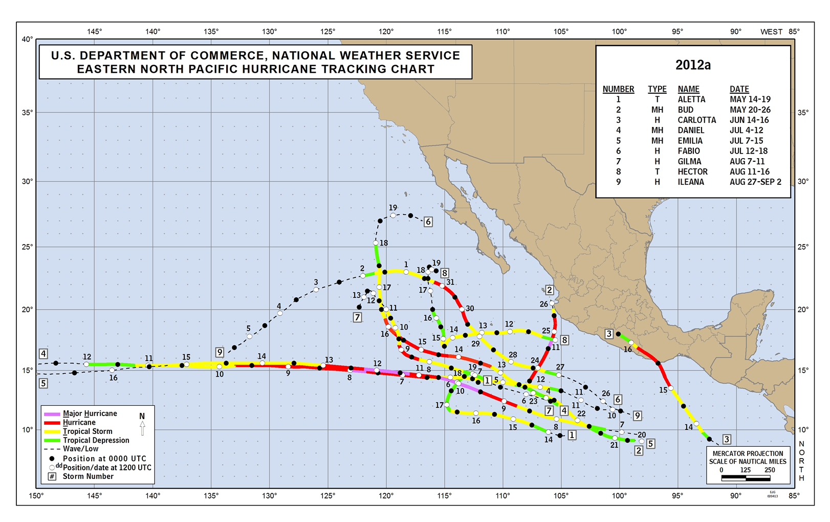 2012 Eastern Pacific Hurricane Track - Part 1