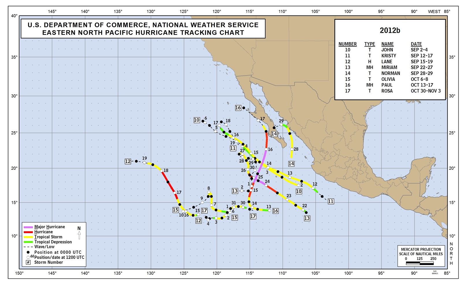 2012 Eastern Pacific Hurricane Track - Part 2
