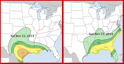 Severe Weather Threat for November 22 & 23 2014