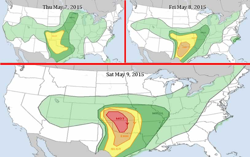 3 day Severe Weather Risk  issued May 7 2015 . Watch for forecast updates (Click to Enlarge)