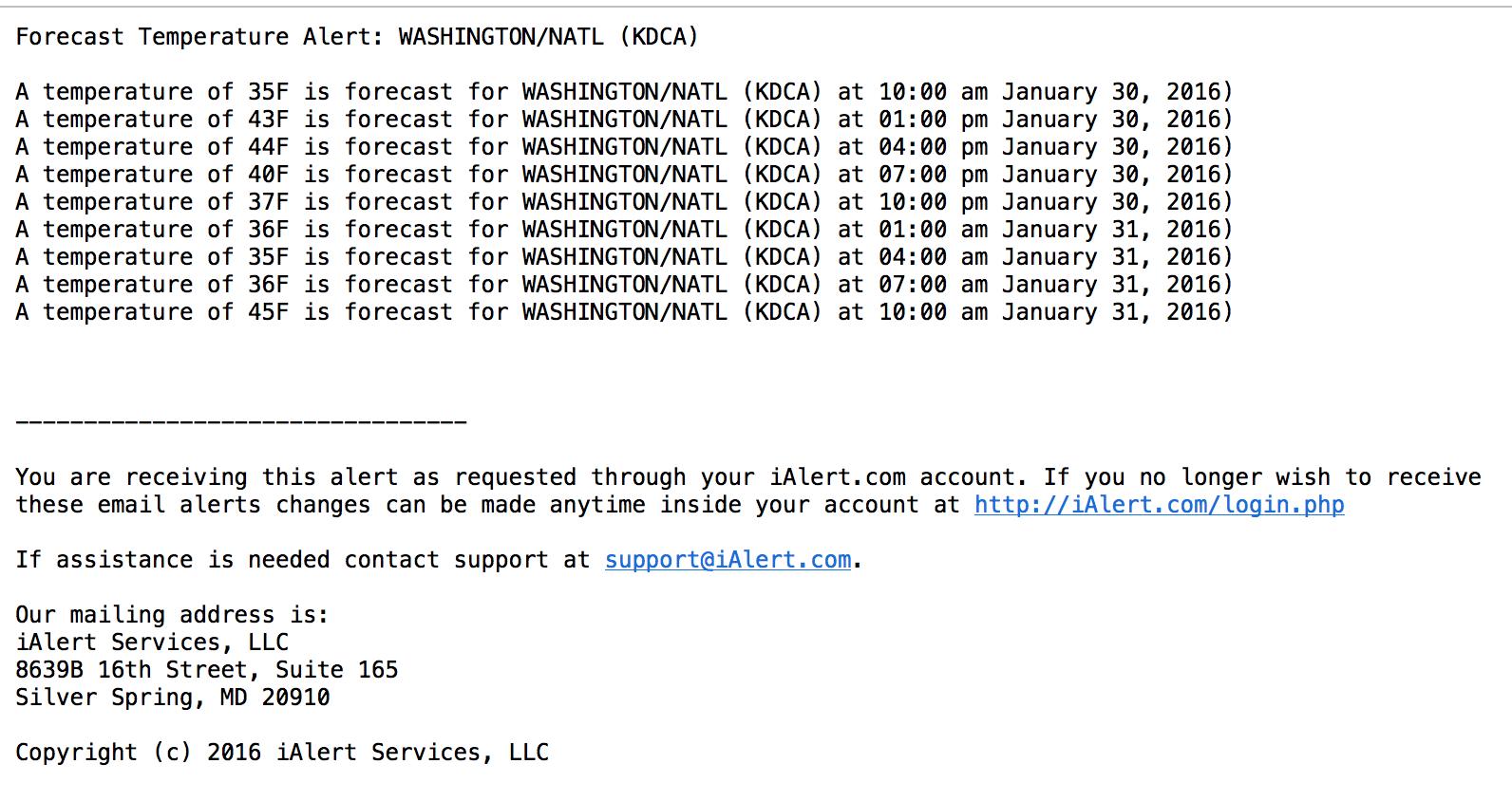 iAlert.com Parameter Forecast Email Alert Example