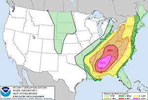 Example NWS SPC Severe Weather Convective Outlook
