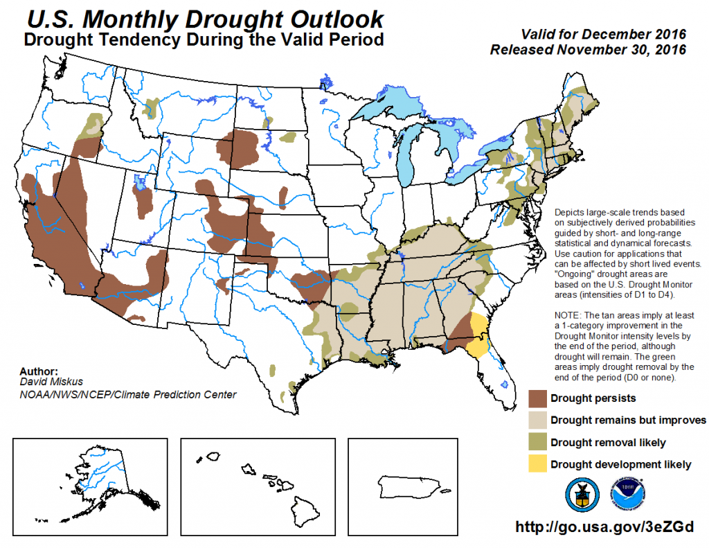 The latest U.S. Monthly Drought Outlook from the Climate Prediction Center is out for December. Some improvement in the east, but many areas continue with drought conditions for December 2016