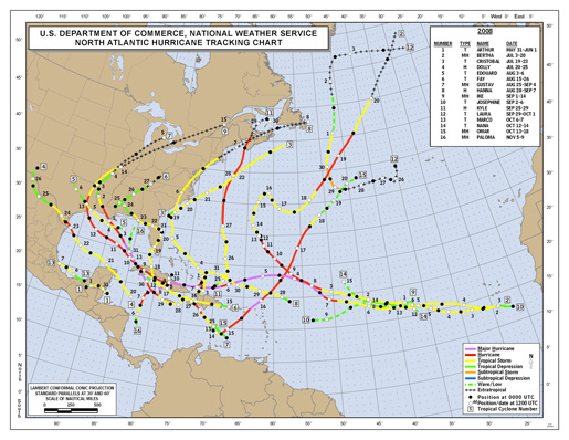 2008 Named Hurricane Tracks