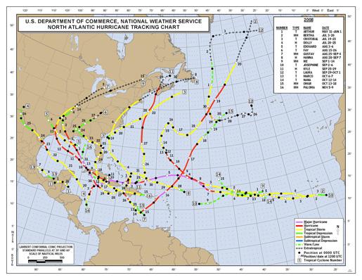2008 Named Hurricane Tracks