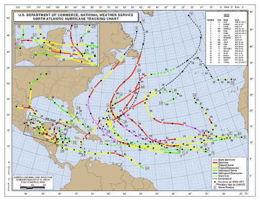 2010 Named Hurricane Tracks