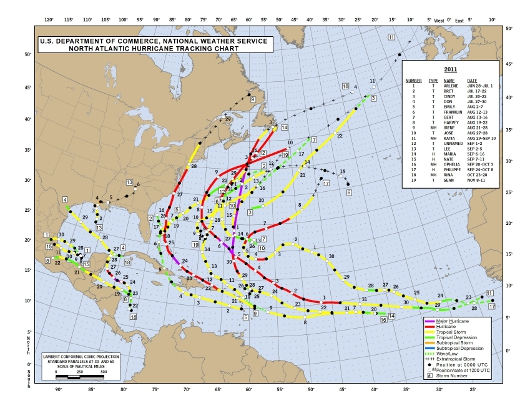 2011 Named Hurricane Tracks