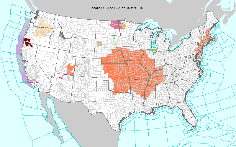 Active Weather and Emergency alert map for united states